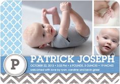 Winsome Welcome: Boy - Boy Photo Birth Announcements - Sarah Hawkins Designs - Sky Martini - Blue : Front