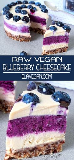 This no-bake vegan blueberry cheesecake will melt in your mouth. Its creamy, rich, sweet, and fruity. Raw Vegan Cheesecake, Raw Vegan Cake, Raw Vegan Desserts, Raw Cake, Blueberry Cheesecake, Raw Vegan Recipes, Vegan Sweets, Cheesecake Recipes, Vegan Cru