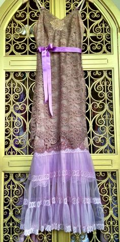Cocoa tan & lilac lace and chiffon appliqué princess prom dress by mermaid miss k