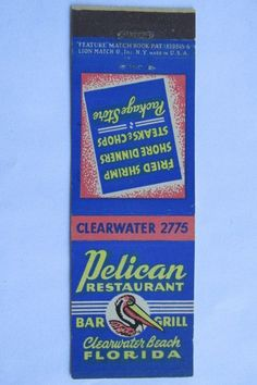 Pelican Restaurant Clearwater Beach Florida 20 Front Strike Matchbook Cover