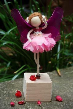 Purple Zinnia Flower Petal Doll, Fairy Miniature, No face doll, Violet Princess Doll , Angel Ornament