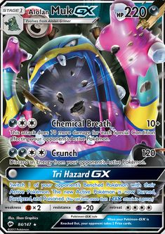 Alolan Muk-GX - - Ultra Rare - Sun & Moon: Burning Shadows: An individual card from the Pokémon trading and collectible card game (TCG/CCG). This is of the Ultra Rare rarity. All Pokemon Cards, Pokemon Trading Card, Pokemon Sun, Trading Cards, Kings Game, Charizard, Sun Moon, Card Games, Breathe