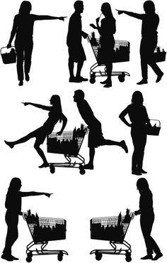 Vectores libres de derechos: Silhouette of people shopping in a…
