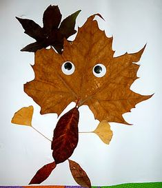 now that's just cute!  fall leaves with googly eyes