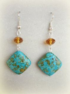 Natural Mosaic Turquoise Blue Earrings  Crystal by SlavGallery