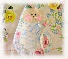 Cat  Doll 6 inch Free Standing Kitty Blue/White by CharlotteStyle, $15.00