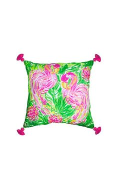 There's no better way to pop a room than with printed Lilly Pulitzer pillows. Featured in a long time favorite print, with tassel details, this pillow is exactly the way to brighten up a room.