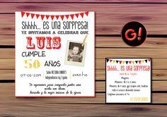 Diseño de Tarjeta de invitacion para CUMPLEAÑOS  *CUMPLEAÑOS SORPRESA DE 50 AÑOS*