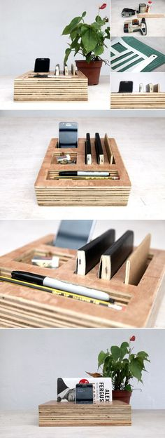 Plywood desk organization