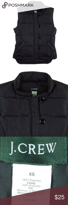 "JCREW Black Goose Down Puffer Vest Jacket Great condition! This black puffer vest features button closures. Exterior is 100% polyester and it's filled with goose down. Measures: Bust: 36"", total length: 21"" J. Crew Jackets & Coats Vests"