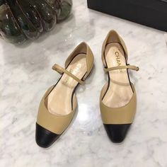 93d7a34547f Christian louboutin inside heels flats. Chanel woman shoes 2 tones leather  flats