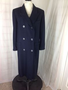 HMC Long Double-Breasted Coat Wool Cashmere Navy Blue Hucke Mode Size 14  #HMCInterntaional #Overcoat