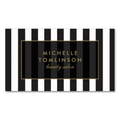 A chic, french-inspired black and white striped business card template displays your name or business name in style. Just click the image to personalize the front and back of the card with your own info. See an instant preview before committing. Easy to order. Fast shipping.
