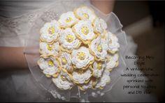 Becoming Mrs. Doyle: Our vintage/chic wedding celebration sprinkled with personal touches and DIY flair - HANDMADE CROCHETED FLOWER BOUQUET Love Crochet, Learn To Crochet, Crochet Baby, Hand Bouquet, Diy Bouquet, Crochet Bouquet, Crochet Flowers, Floral Bouquets, Wedding Bouquets