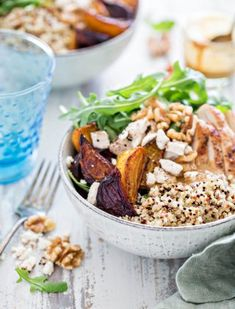 Chicken, Beet, and Arugula Quinoa Bowl with Walnut Sherry Molasses Vinaigrette (Good Life Eats) Healthy Side Dishes, Healthy Salad Recipes, Healthy Appetizers, Purple Cabbage Recipes, Cobb Salad Ingredients, Healthy Lunches For Work, Eating Healthy, Kale Slaw