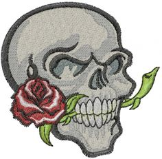 Machine Embroidery Designs Embroidery Design: Skull With Rose 2.58 inches H x 2.62 inches W