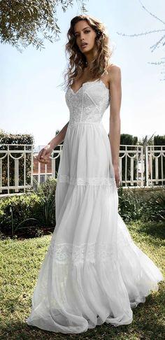 Distressed Bohemian Chiffon Wedding Dress Tea Length