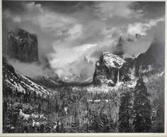 """ANSEL ADAMS (California, 1902-1984) """"Clearing Winter Storm, Yosemite Valley"""", gelatin silver print, pencil signed 'Ansel Adams' lower right, Carmel studio stamp on verso with ink title, image approx.  15.5 x 19.25in., sheet size 22 x 28in. #Ansel #Adams #Photography #Landscape #BW #Silver #Print #Gelatin #American #art"""