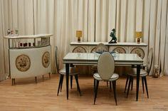 Italian Umberto Mascagni 1950's Vynil 3 Piece Dining Room Set | eBay