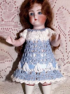 """Hand Crochet Dress & Pants Set for 5.5, 6"""" BISQUE Mignonette Kestner Bru Doll"""