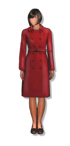 Cappottino rosso, cartamodello in taglia 44 (medium), file PDF in fogli A4