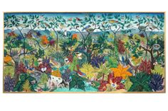 Fascinating natural scene.  Brightly colored birds, leafy trees and animals intertwine to make a complex