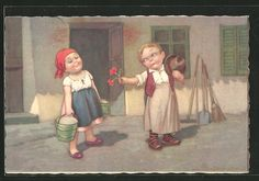carte postale ancienne: CPA Illustrateur E.Colombo: Junge schenkt seiner Freundin des fleurs