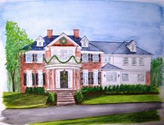 House portrait -- this time with Christmas decorations