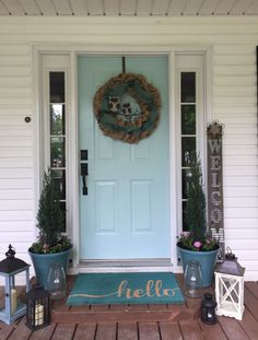 Front porch with lanterns. Sherwin Williams watery paint on front door. Front porch with lanterns. Sherwin Williams watery paint on front door. Country Front Door, House Front Door, Front Door Decor, Entryway Decor, Door Entryway, Rustic Lanterns, Lanterns Decor, Decorative Lanterns, Exterior Front Doors