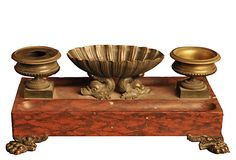 French Empire marble and bronze inkwell, c. 1860.