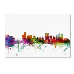 Winnipeg Canada Skyline by Michael Tompsett Graphic Art on Wrapped Canvas