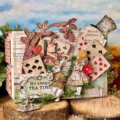 Alice In Wonderland Decorations, Alice In Wonderland Theme, Up Book, Book Art, Altered Books, Altered Art, Book Crafts, Paper Crafts, Alice Tea Party