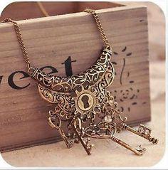 Halskette-Steampunk-Alice-Schluessel-Wunderland-Vintage-Collier-Gothic-Necklace