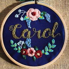 Name Embroidery   Hand embroidery, floral embroidery, embroidery, name template, embroideryhoop