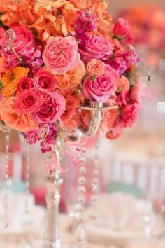 pink and orange centerpiece, tall arrangements with garden roses and orchids from Virginia Wedding Salamander Resort by Katelyn James Photography