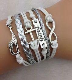 Armband wit-zilver Infinity-Faith-Anchor-Giraffe 04