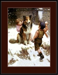 asliceintime.com: Beautiful historic artwork from a bygone era. Vintage children playing in the snow with their collie.