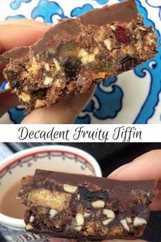 Exceptionally easy recipe for a decadent chocolatey fruity tiffin by GBBO finalist Holly Bell. Ginger biscuits, plain and milk chocolate, mixed nuts, apricots, cherries, berries, raisins, golden syrup....heaven! No baking required, just set it in the fridge. Easy for kids to help make too.