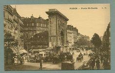 Porte St-Denis, Paris, France - Busy Street Scene, Trams, Horse Carriages ca. 1910