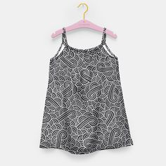 """Black and silver zentangles"" Girl's Dress by Savousepate on Live Heroes #kidsapparel #kidsclothing #pattern #graphic #modern #bling #abstract #doodles #zentangles #scrolls #spirals #arabesques #black #grey #gray #silver"