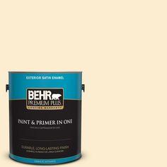 BEHR Premium Plus 1-gal. #350E-2 Honey Moth Satin Enamel Exterior Paint