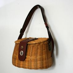 Vintage Fishing Creel Style Wicker Etienne Aigner Purse by twojs