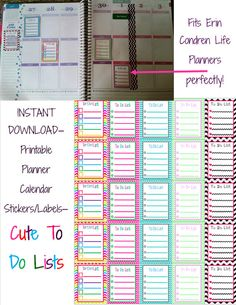 INSTANT DOWNLOAD Planner Calendar Label Square Stickers - Cute Chevron TO_DO_LISTS - Fits Erin Condren or Plum Paper Planners - Unlimited Printing.