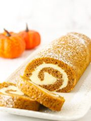 Life Love and Sugar - Life is Better With Cake This easy Pumpkin Cake Roll is made with tender pumpkin cake and a heavenly cream cheese filling. Plus my mess-free method for making this roll is super simple! Nutella Chocolate Cake, Chocolate Chip Cupcakes, Mint Chocolate Chips, Delicious Chocolate, White Chocolate, Coconut Cheesecake, Cheesecake Recipes, Cupcake Recipes, Dessert Recipes