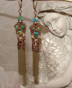 Bohemian mermaid tassel woven netted picasso bead earrings pamelia designs