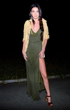 Kendall Jenner wears Ralph Lauren dress, jacket, and earrings to the POLO Ralph Lauren S/S 15 after-party. // #NYFW