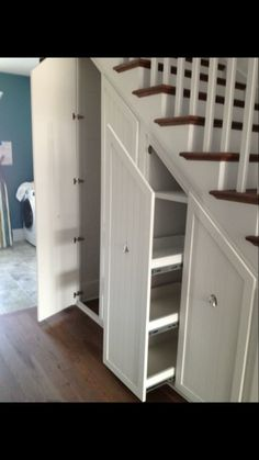 Storage under stairs. Gorgeous Under Stair Storage look Charleston Transitional Staircase Image Ideas with built-in storage closet closet organizers hidden storage pull-out shelves pull-out storage secret closet stair Closet Storage, Built In Storage, Understairs Storage Ideas, Basement Storage, Closet Shelves, Secret Storage, Attic Storage, Pantry Storage, Shoe Closet