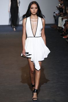 Costume National | Spring 2016 Ready-to-Wear | 36 White sleeveless mini dress with deep V-neck