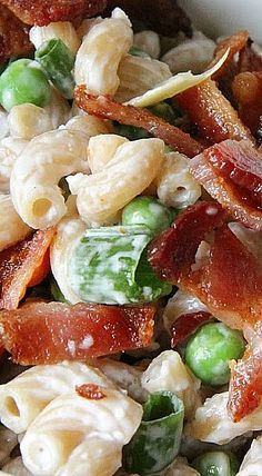 Creamy Bacon & Pea Pasta Salad Recipe Creamy Ranch Bacon and Pea Pasta Salad – perfect side dish recipe, but it also works well for a complete lunch, too. Side Dish Recipes, Gourmet Recipes, Pasta Recipes, Cooking Recipes, Healthy Recipes, Recipe For Side Dishes, Veggie Recipes Sides, Pea Salad Recipes, Potluck Side Dishes