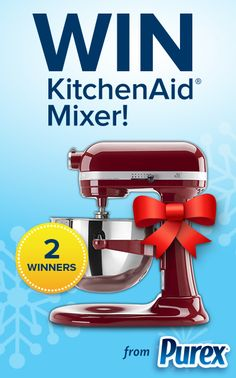 *THIS SWEEPSTAKES HAS ENDED* Repin if you want to win a KitchenAid mixer for the holidays! #giveaway